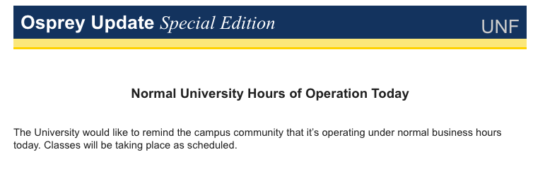 UNF sends emails reminding students that classes are still in session