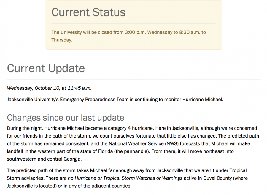 JU will be closing as a result of Hurricane Michael. Courtesy of JU.