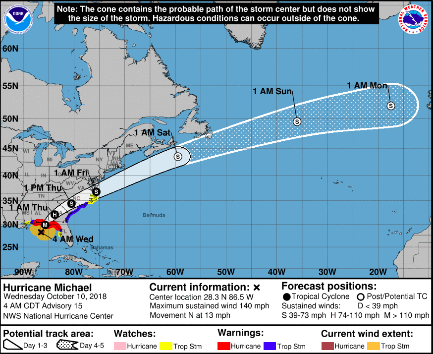Hurricane Michael is now . Category 4 hurricane. Courtesy of the National Hurricane Center.