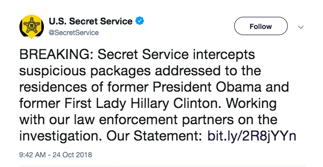 BREAKING: Explosive Device found in suspicious packages sent to Clinton and Obama residences