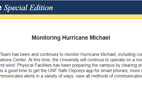 "UNF is ""monitoring Hurricane Michael"" but will continue operating as normal"