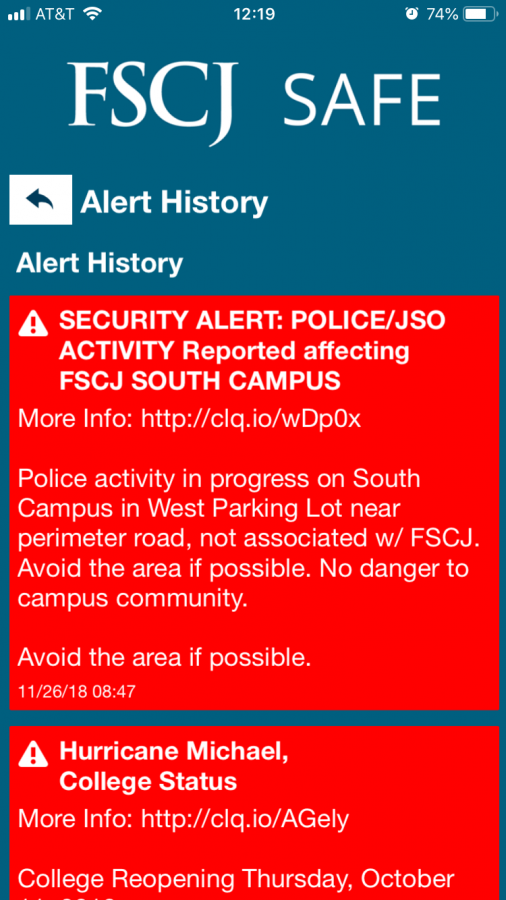 The alert was sent to students this morning warning them to avoid the area.