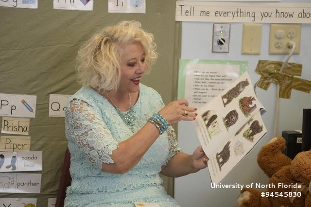 Maria Szymanski reads to the UNF Preschool. Courtesy of the University of North Florida.