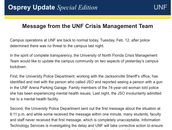 University sends out statement regarding safety alerts and caller to JSO