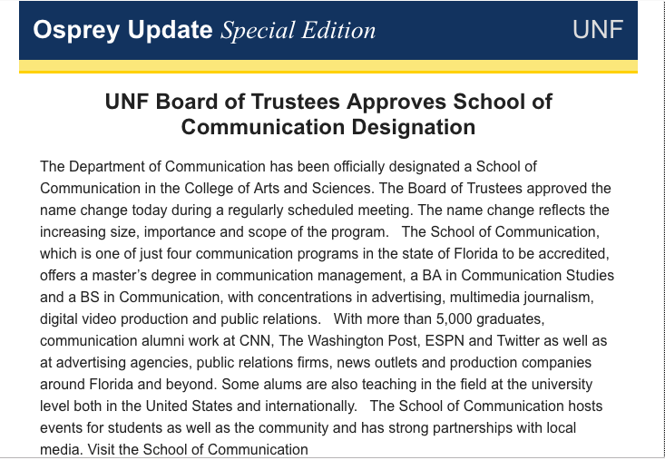 The Department of Communication is now the School of Communication