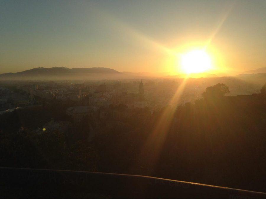 Sunset over the Málaga skyline.