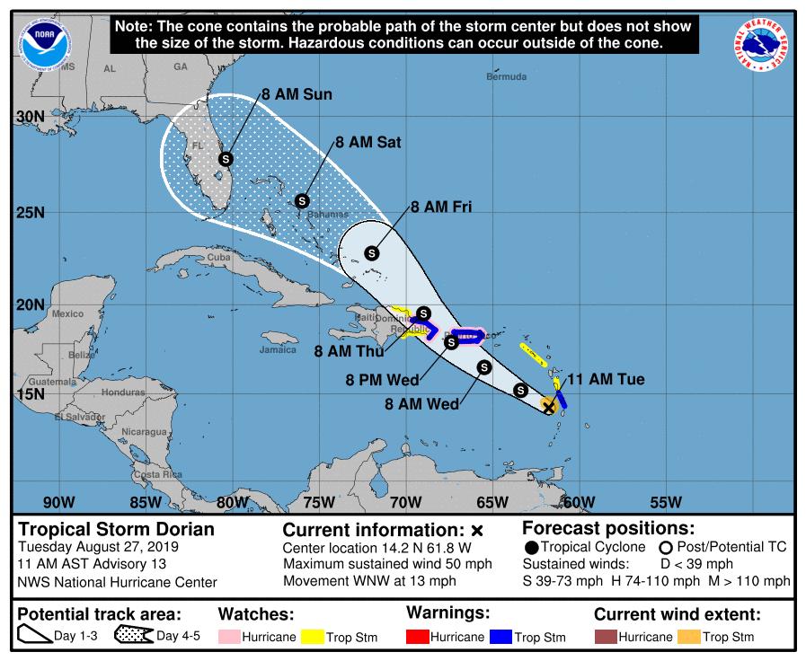 Tropical Storm Dorian expected to head towards Florida