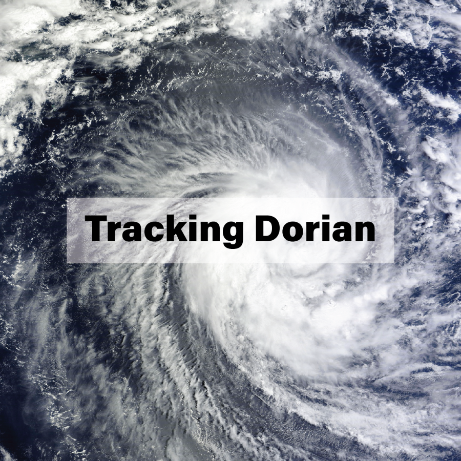 Text that says Tracking Dorian over an arial picture of a hurricane