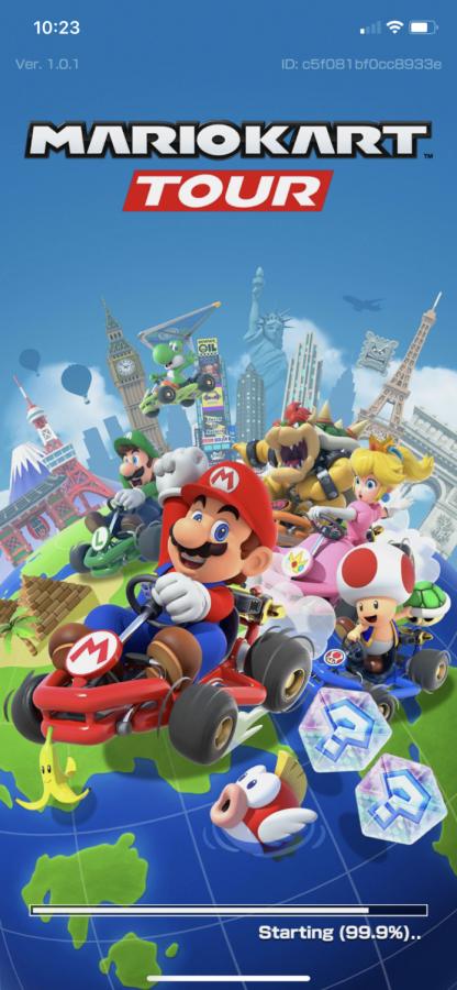 A screenshot of the title screen for Mario Kart Tour