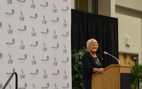 Retired U.S. Ambassador Barbara Stephenson speaks at UNF Herbert University Center. Photo by Romario Gardner.