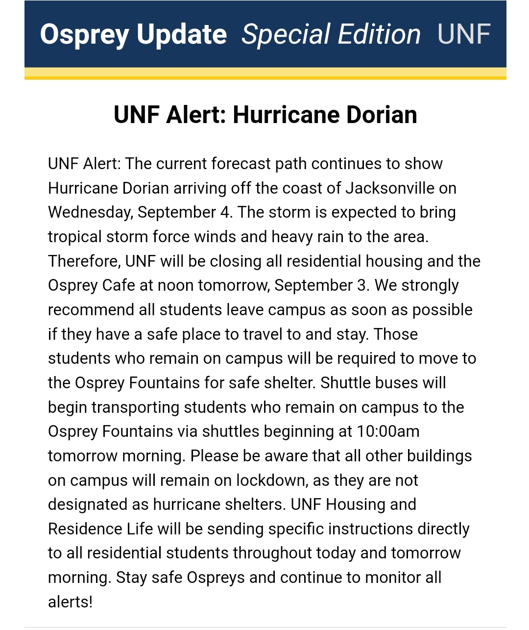 Tracking Dorian: UNF closes all residential housing, moves