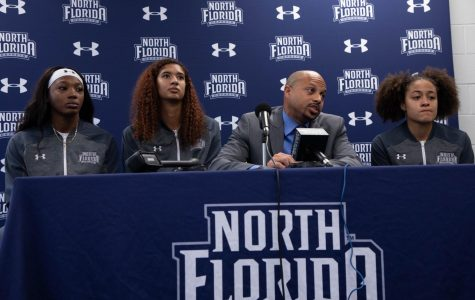 UNF Women's Basketball Head Coach Darrick Gibbs answers the media's questions with a trio of his players.