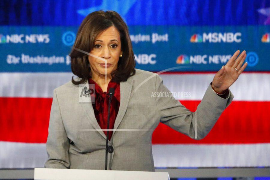 FILE - In this Nov. 20, 2019 file photo, Democratic presidential candidate Sen. Kamala Harris, D-Calif., speaks during a Democratic presidential primary debate in Atlanta. (AP Photo/John Bazemore)