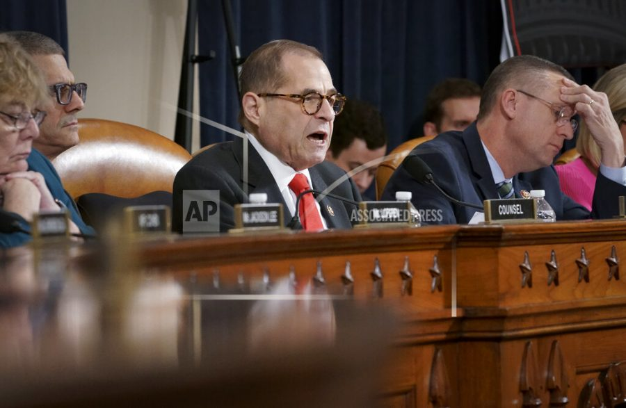 House Judiciary Committee Chairman Jerrold Nadler, D-N.Y., joined at right by Rep. Doug Collins, R-Ga., the ranking member, convenes the panel to hear investigative findings in the impeachment inquiry against President Donald Trump, on Capitol Hill in Washington, Monday, Dec. 9, 2019. (AP Photo/J. Scott Applewhite)