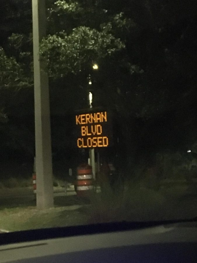 Kernan road closure sign. Photo credit Lili Weinstein.