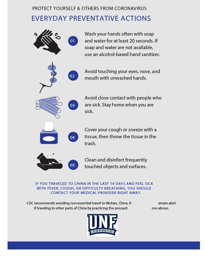 UNF coronavirus safety flyer, courtesy of Student Health Services.