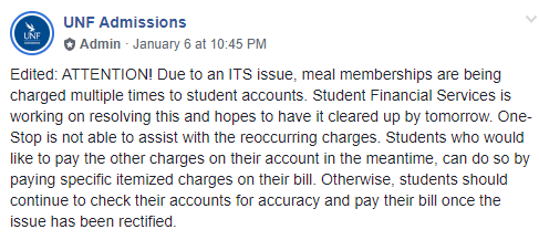 Extra charges to meal memberships now corrected