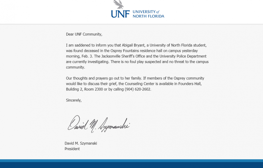 Email from UNF president