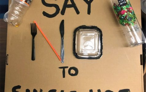 Environmental club promotes reduction of single-use plastic with creative signs