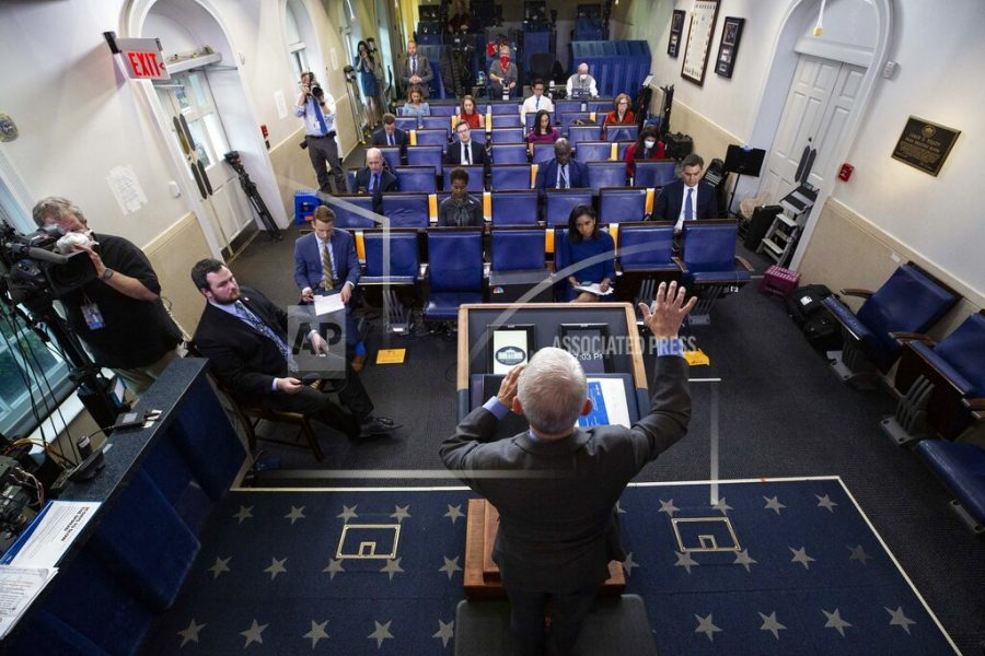 Dr. Anthony Fauci, director of the National Institute of Allergy and Infectious Diseases, speaks about the coronavirus in the James Brady Press Briefing Room of the White House, Wednesday, April 8, 2020, in Washington. (AP Photo/Alex Brandon)