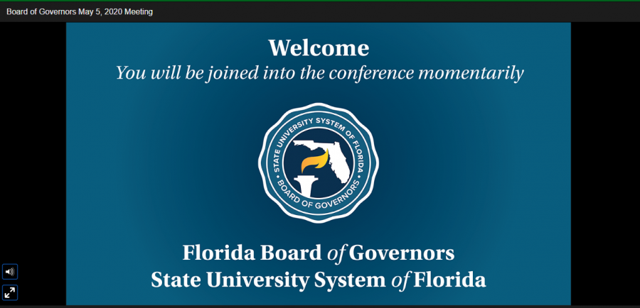Opening slide welcoming the public to the Florida BOG conference call on May 5, 2020.
