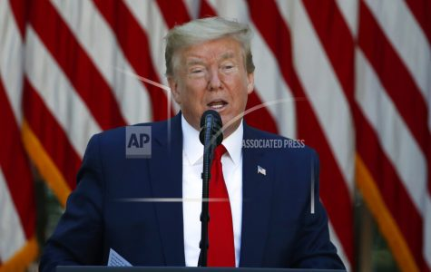 FILE - In this May 7, 2020, file photo President Donald Trump speaks during a White House National Day of Prayer Service in the Rose Garden of the White House in Washington. The coronavirus pandemic is complicating what has been a May reelection campaign launch for recent presidents. Trump has told reporters recently he would travel soon to Ohio, a battleground state. (AP Photo/Alex Brandon, File)