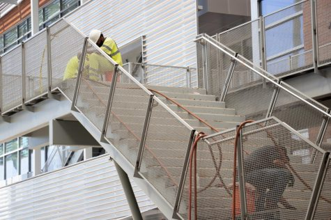 Workers continue construction on the Student Union steps Photo: Cameron Visconti