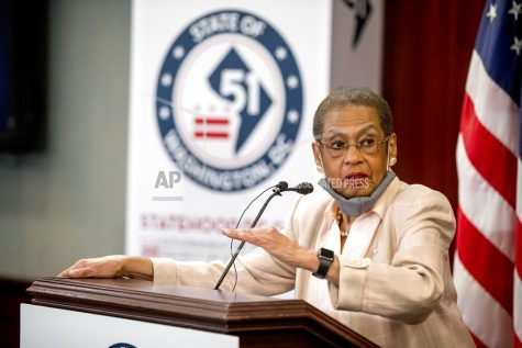Delegate Eleanor Holmes Norton, D-D.C., speaks at a news conference on District of Columbia statehood on Capitol Hill, Tuesday, June 16, 2020, in Washington. House Majority Leader Steny Hoyer of Md. will hold a vote on D.C. statehood on July 26. (AP Photo/Andrew Harnik)