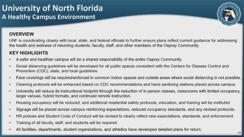 Part of UNF's presentation for welcoming students to campus this fall.