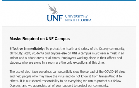 UNF announces mask requirement on campus