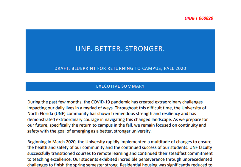 UNF releases draft plan to bring students back to campus for Fall semester