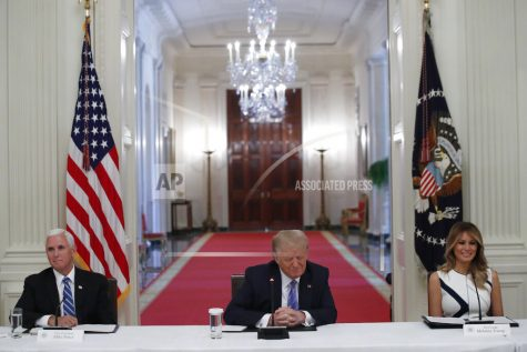 "President Donald Trump, Vice President Mike Pence, left, and first lady Melania Trump, attend a ""National Dialogue on Safely Reopening America"