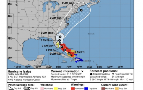Hurricane Isaias' projected path, per National Hurricane Center