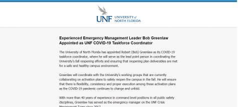 UNF names Bob Greenlaw as COVID-19 Taskforce Coordinator