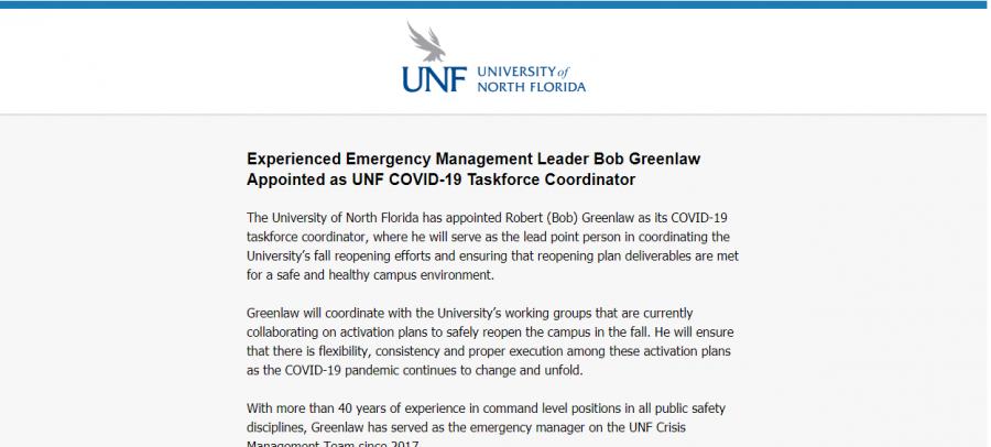 UNF names Bob Greenlaw as COVID-19 Taskforce Coordinator
