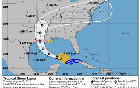 Hurricane Laura's projected path, per the NHC.