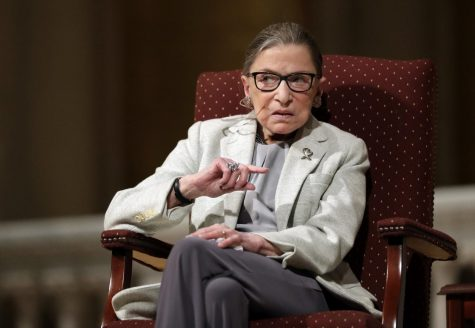 FILE - In this Feb. 6, 2017 file photo, Supreme Court Justice Ruth Bader Ginsburg speaks at Stanford University in Stanford, Calif. The Supreme Court says Ginsburg has died of metastatic pancreatic cancer at age 87. (AP Photo/Marcio Jose Sanchez, File)