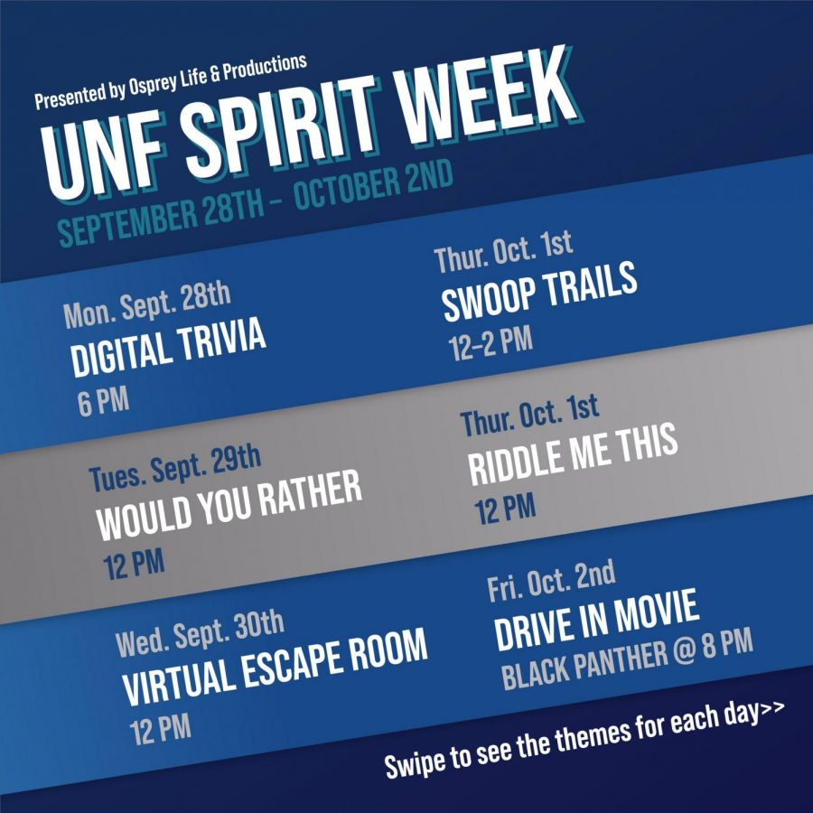Spirit Week events will be hosted from Monday, Sept. 28 until Oct. 2