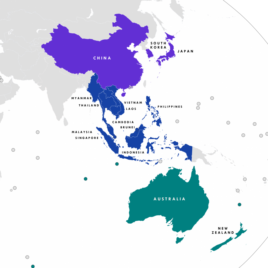 The Regional Comprehensive Economic Partnership is expected to connect trade routes for about 30% of the worlds population (Image from Wikipedia).
