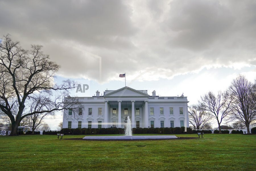 Clouds form over the White House in Washington, Monday, Jan. 18, 2021. (AP Photo/Pablo Martinez Monsivais)