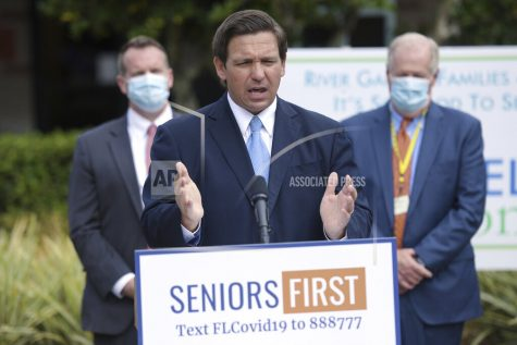 Florida Governor Ron DeSantis addressed the media at the River Garden Hebrew House for the Aged in Jacksonville, Fla., on the status of COVID-19 vaccination rates in the state