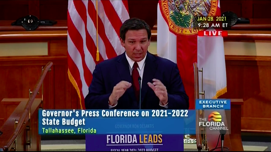 Gov. DeSantis speaks about 2021-22 state budget plan during press conference in Tallahassee on Thurs. Jan. 28 / Photo screenshot by Shelby Senesac