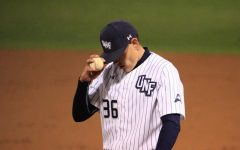 After giving up 3 runs and throwing 52 pitches in just 2.1 innings, UNF starter Ethan Jones' night was done in just the third inning.