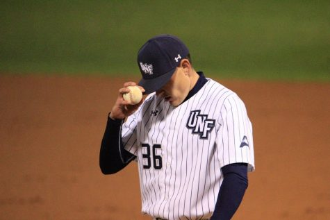 After giving up 3 runs and throwing 52 pitches in just 2.1 innings, UNF starter Ethan Jones