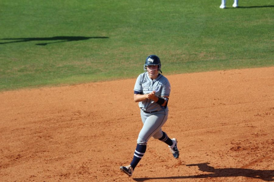 Paige Pfent's two home-run, five-RBI game in Wednesday's opener helped UNF get the upset win (Justin Nedrow)