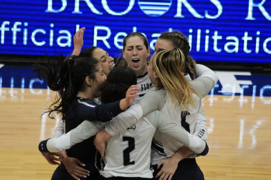 The Ospreys celebrate just moments after completing the sweep against the Stetson Hatters