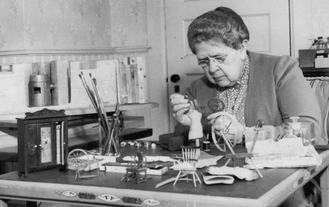 Frances Glessner Lee working on one of the dioramas / Courtesy of the Glessner House Museum, Chicago / Photo retrieved from Harvard Magazine