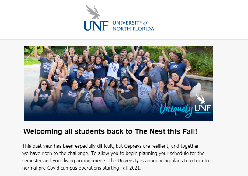Screenshot of a portion of the email announcement.