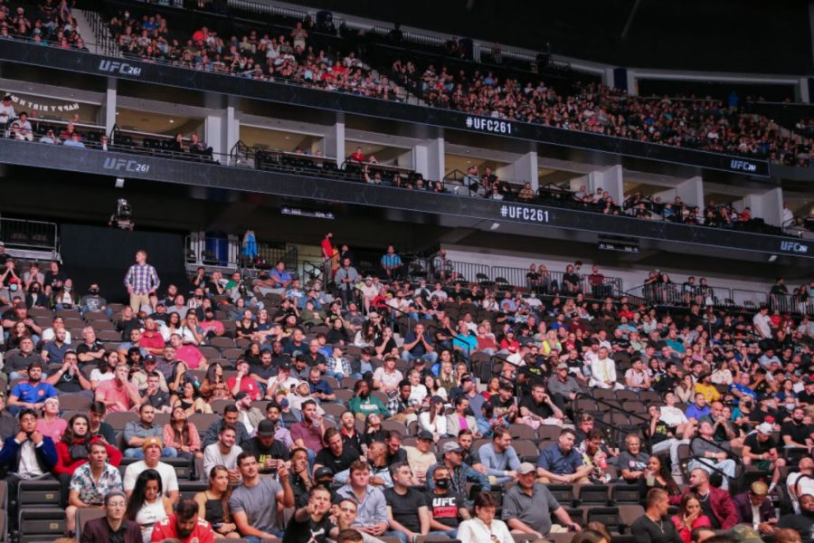 JACKSONVILLE, FL - APRIL 24: General view of the sold out crowd on hand for UFC 261 at VyStar Veterans Memorial Arena on April 24, 2021 in Jacksonville, Florida.  (Photo by Alex Menendez/Getty Images) / Photo retrieved from Rolling Stone