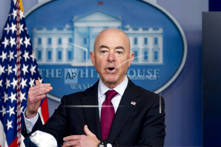 """FILE - In this March 1, 2021, file photo, Homeland Security Secretary Alejandro Mayorkas speaks during a news conference at the White House in Washington. The Biden administration says four families who were separated at the Mexico border during Donald Trump's presidency would be reunited in the United States during the first week of May, the first of what Mayorkas calls """"just the beginning"""" of a broader effort. (AP Photo/Andrew Harnik, File)"""